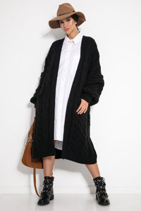 F1074 Front Pocket Longline Cable Aran Cardigan In Black