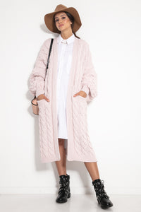F1074 Front Pocket Longline Cardigan In Pink
