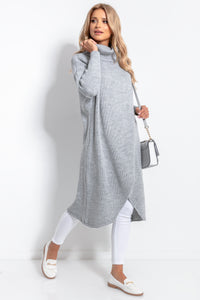 F1052 Oversized Turtleneck Wool-Blend Long Sweater In Grey