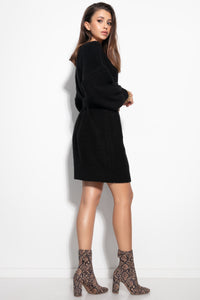 F1105 Oversized Knitted Sweater Mini Dress In Black