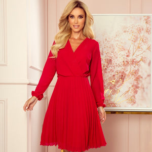 313-5 Chiffon Pleated Midi Dress In Red