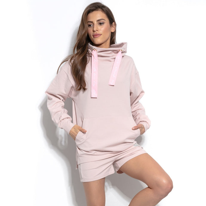 F942 High-Neck Cotton-Blend Sweatshirt In Pink