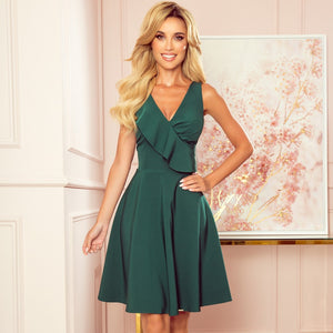 274-2 Fit & Flare Knee-Length Dress with Frill In Bottle Green