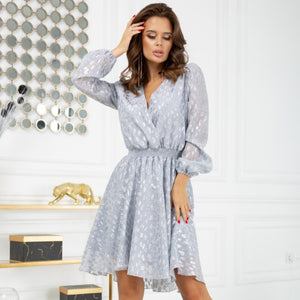 2216-03 High-Low Leo Pattern Mini Dress In Grey-Silver