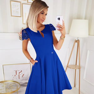 2212-05 Lace-Cap Sleeve Fit & Flare Midi Dress with Pockets In Royal Blue
