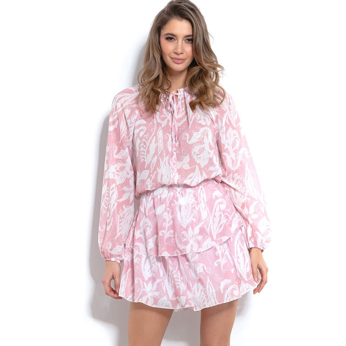 F1001 Floral Two Piece Set Mini Dress In Pink