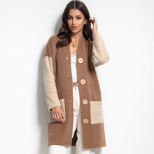 F1082 Oversized Longline Pocket Fluffy Knit Cardigan In Carmel