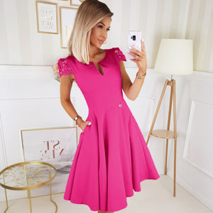 2212-07 Lace-Cap Sleeve Fit & Flare Midi Dress with Pockets In Fuchsia