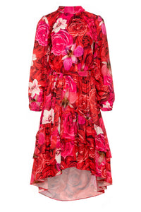 F1012 Asymmetrical Belted Dress In Raspberry Floral Print