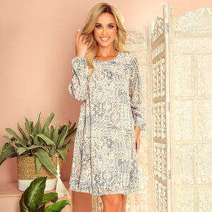 319-2 Chiffon Layered Boho Pattern Mini Dress In Beige-Blue