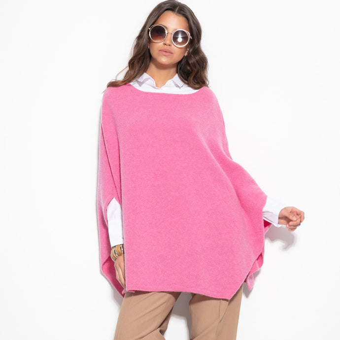 F1108 Oversized Wool Poncho In Pink