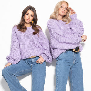 F1125 Alpaca-Blend Oversized Chunky Knit Sweater In Purple