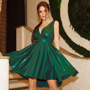 2215-13 Glitter High-Low Mini Dress In Green