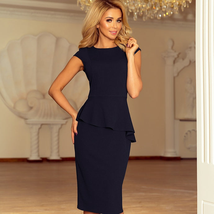192-4 Asymmetric Peplum Midi Dress In Navy