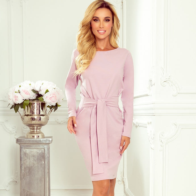 209-7 Tie Waist Mini Dress In Light Purple