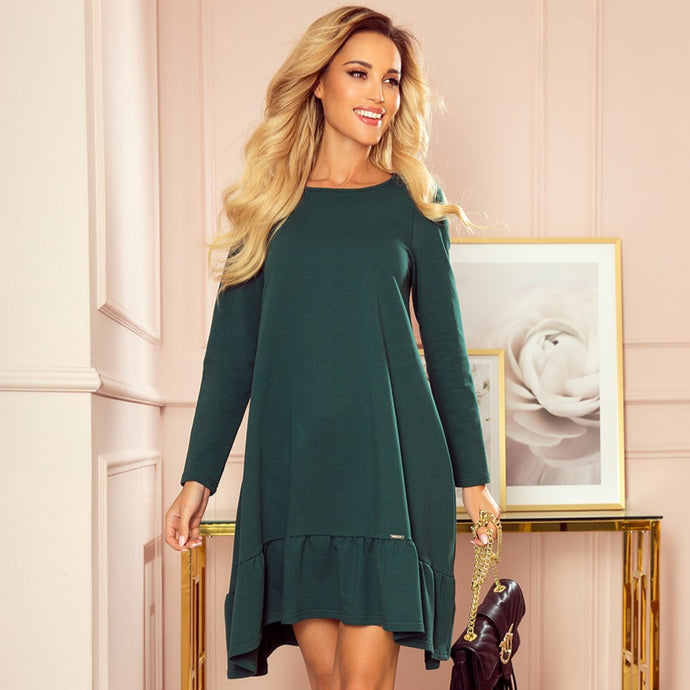 337-1 Trapeze Cotton-Blend Dress with Ruffle Hem In Green