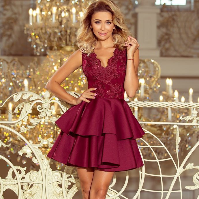 207-1 Embroidered Lace Bodice Fit & Flare Scuba Mini Dress In Burgundy