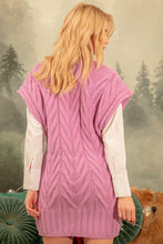 F1143 V-Neck Long Wool Vest In Lilac