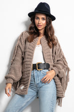 F1089 Oversized Chunky Knit Tassel Cardigan In Brown