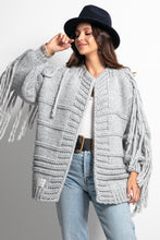 F1089 Oversized Chunky Knit Tassel Cardigan In Grey
