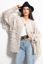 F1089 Oversized Chunky Knit Tassel Cardigan In Beige