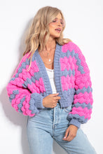 F1057 Oversized Chunky Knit Short Cardigan In Pink-Grey