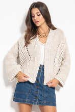 F1071 Alpaca Short Oversized Cardigan In Beige
