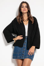 F1071 Alpaca Short Oversized Cardigan In Black