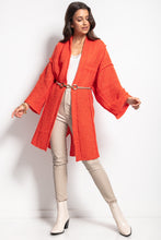 F1082 Oversized Longline Cardigan With Wide Sleeve In Orange