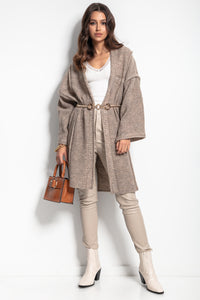 F1083 Oversized Longline Knit Cardigan With Wide Sleeve In Brown
