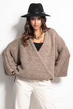 F1088 Oversized Buttoned Cardigan In Brown