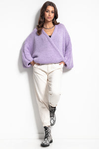 F1088 Alpaca-Blend Buttoned Cardigan In Purple