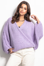 F1088 Oversized Buttoned Cardigan In Purple