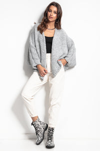 F1088 Alpaca-Blend Buttoned Cardigan In Grey
