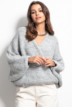 F1088 Oversized Buttoned Cardigan In Grey