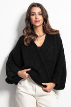 F1088 Oversized Buttoned Cardigan In Black