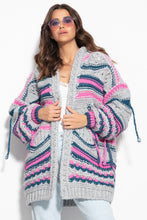 F1115 Oversized Wool Chunky Knit Hooded Cardigan In Grey