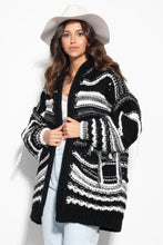 F1115 Oversized Wool Chunky Knit Hooded Cardigan In Black