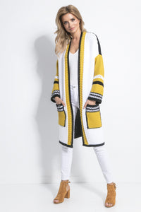 F699 Front Pocket Longline Cardigan In Ceylon-Yellow