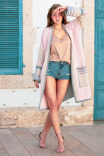 F699 Front Pocket Longline Cardigan In Pink