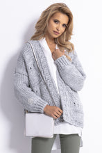 F779 Chunky Knit Oversized Short Cardigan In Grey