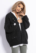 F779 Chunky Knit Oversized Short Cardigan In Black