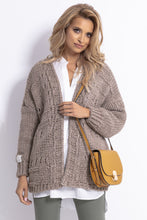 F779 Chunky Knit Oversized Short Cardigan In Brown