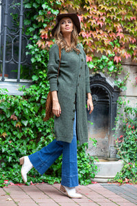 F818 Knit Long Cardigan In Olive