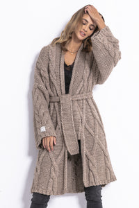F825 Long Belted Alpaca-Blend Cable Aran Cardigan In Brown