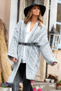 F825 Long Belted Cardigan In Grey