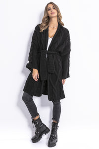 F825 Long Belted Alpaca-Blend Cable Aran Cardigan In Black