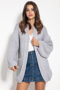 F1060 Recycled Knit Oversized Cardigan In Grey