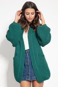 F1060 Recycled Knit Oversized Cardigan In Green