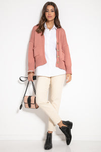 F1063 Recycled Knit Front Pocket Short Cardigan In Apricot